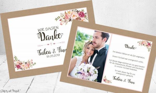 Dankeskarten Hochzeit floral