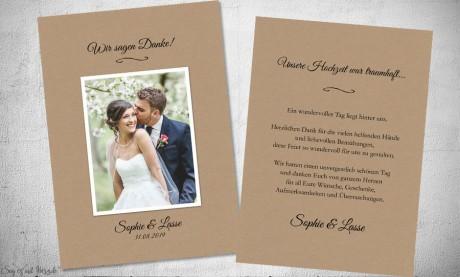 Dankeskarte Hochzeit Kraftpapier