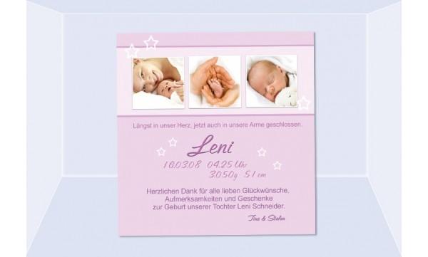 "Danksagung Geburt ""Leni"", Geburtskarte, 10x10 cm, rosa"