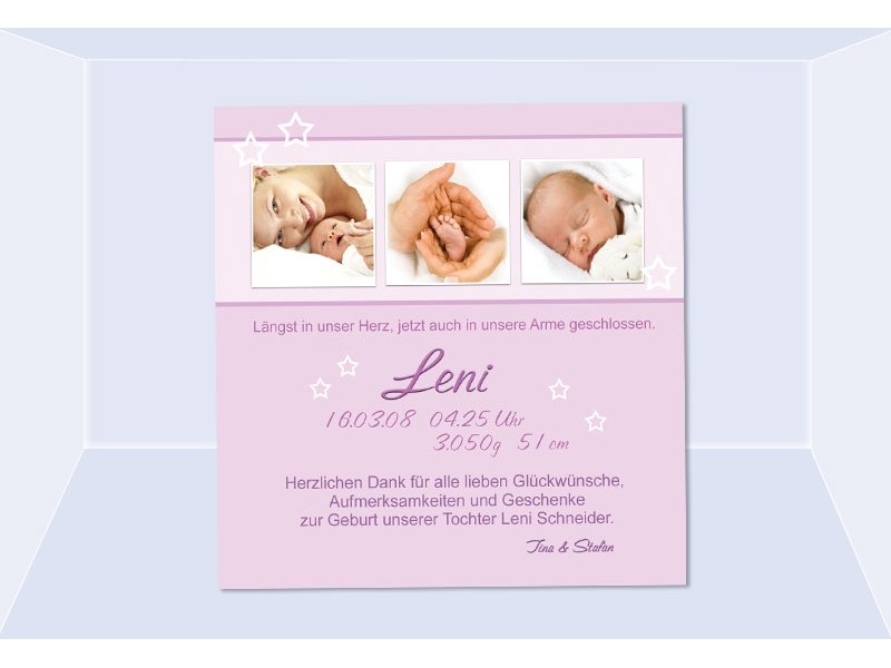 danksagung geburt geburtskarte babykarte fotokarte rosa. Black Bedroom Furniture Sets. Home Design Ideas