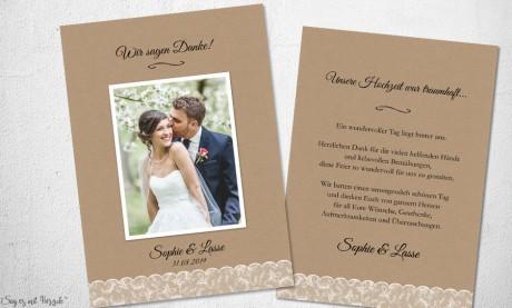 Dankeskarte Hochzeit Spitze
