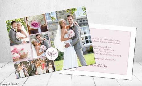 Danksagungskarten Hochzeit mit vielen Fotos