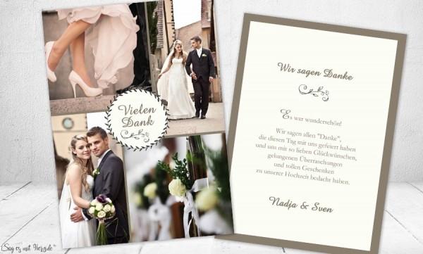 Dankeskarten Hochzeit mit vielen Fotos individuell