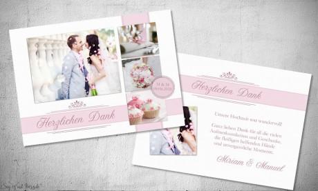 Danksagung Hochzeit Fotostreifen