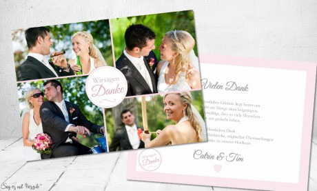 Danksagung Hochzeit Fotokarte rosa