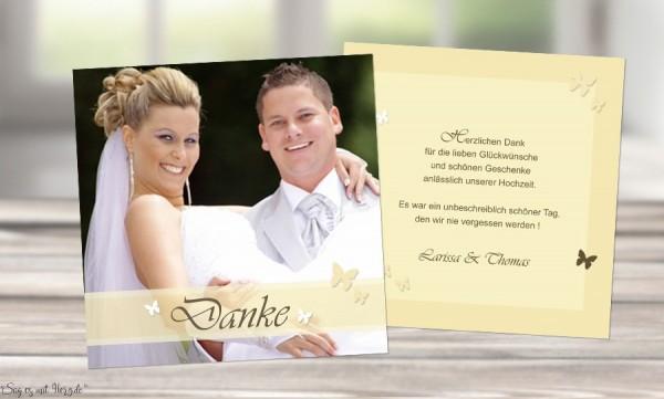 Danksagungskarte, Karte Hochzeit, Flachkarte, gelb