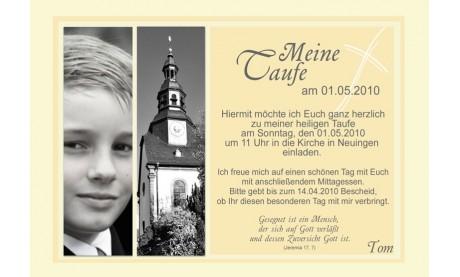 "Einladung Taufe ""Tom"", Taufeinladung, Fotokarte 10x15 cm, gelb"