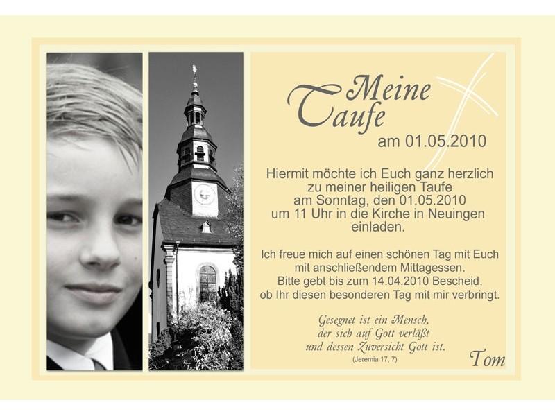 """einladungskarte taufe """"tom"""", taufkarte gelb, Einladungen"""