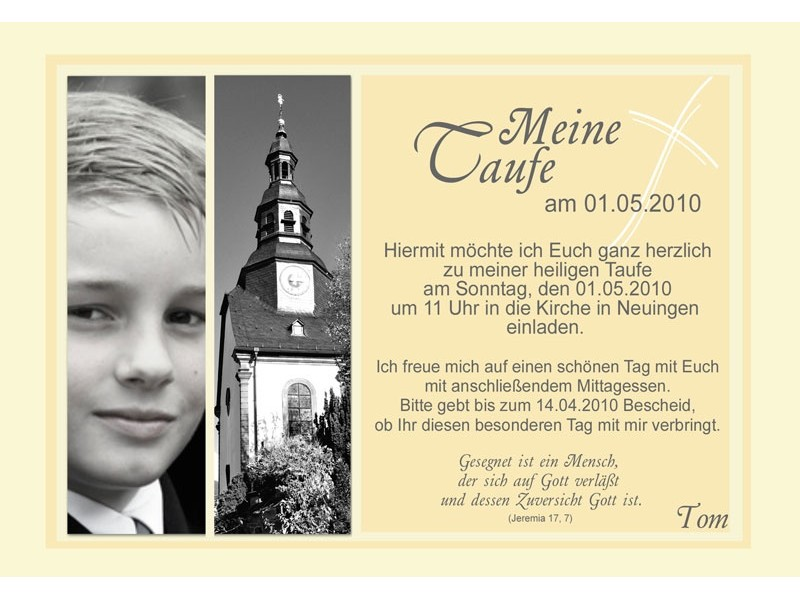 "Einladungskarte Taufe ""Tom"", Taufkarte gelb"
