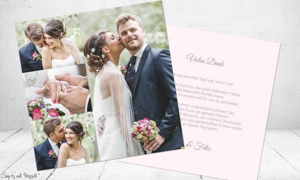 Danksagung Hochzeit Foto rosa