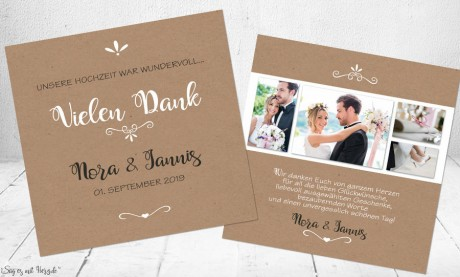 Danksagung Hochzeit Kraftpapier Collage