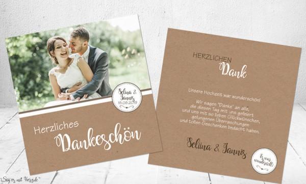 Danksagungskarte Hochzeit Kraftpapier schlicht