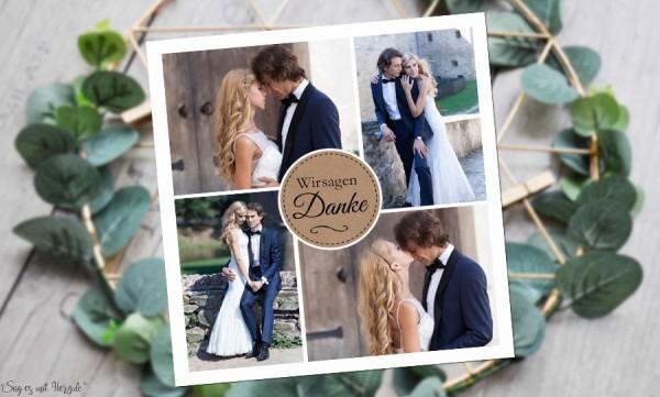Dankeskarte Hochzeit mit mehreren Fotos