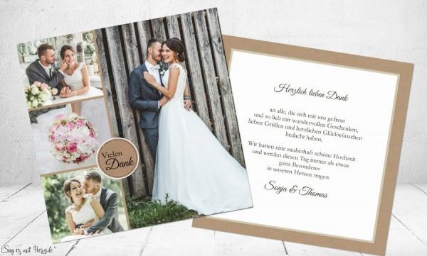 Danksagung Hochzeit Kraftpapier Vintage