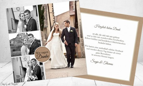 Danksagungskarte Hochzeit Kraftpapier rustikal