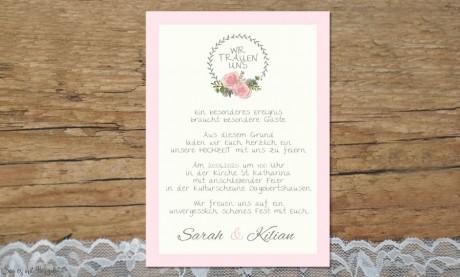Einladungskarten Hochzeit Blumenkranz