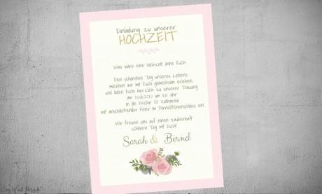 Einladung Hochzeit foral mit gold