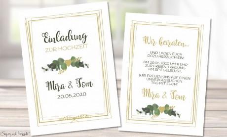 Einladung Hochzeit Eukalyptus gold