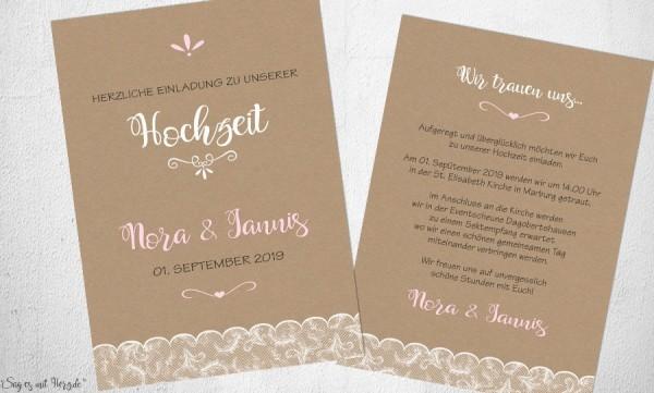 Einladungskarten Hochzeit Kraftpapier Spitze