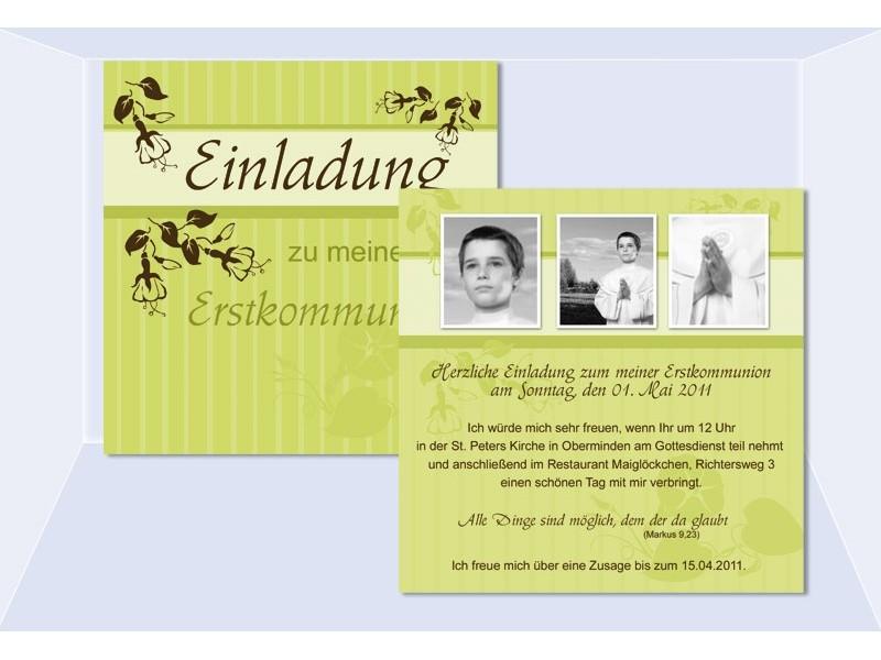 Einladung Kommunion / Konfirmation, Einladungskarten, Grün