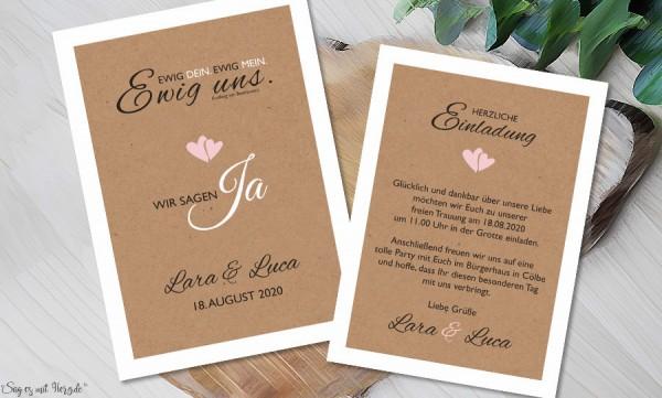 Einladungskarten Hochzeit Vintage Kraftpapier