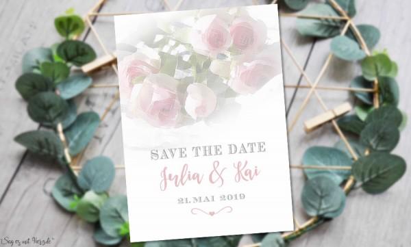 Einladungskarten Save the Date Hochzeit Rosen
