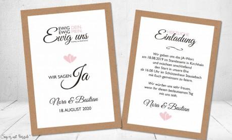 Einladungskarte Hochzeit ewig dein ewig mein ewig uns