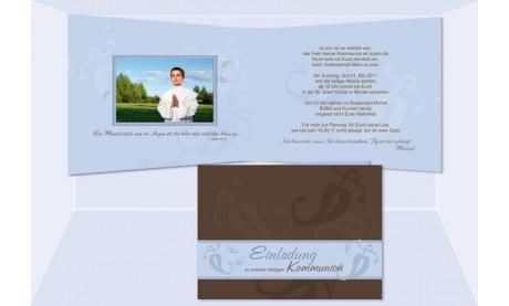 Einladung Kommunion / Konfirmation, Klappkarte, braun hellblau