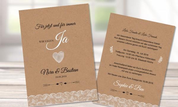Einladungen Hochzeit Kraftpapier Vintage