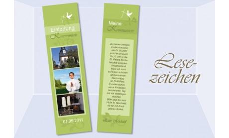 Lesezeichen Einladung Kommunion / Konfirmation, 5x20 cm, grün
