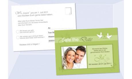 Safe the Date - Antwort Karte Hochzeit 10x15 cm, grün