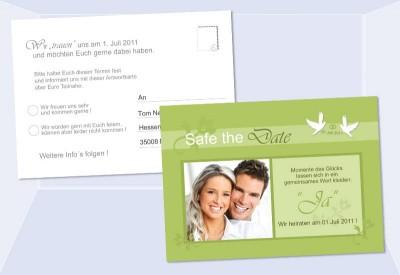 Safe The Date   Antwort Karte Hochzeit 10x15 Cm, Grün