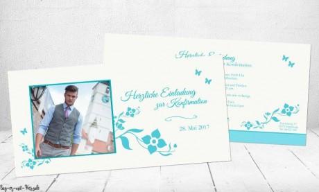 Einladungskarten Kommunion Konfirmation türkis Junge