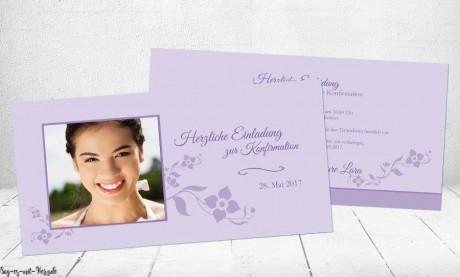 Einladungskarten Konfirmation Kommunion flieder lila
