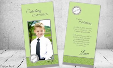 Einladungskarten Kommunion Konfirmation grün mit Foto