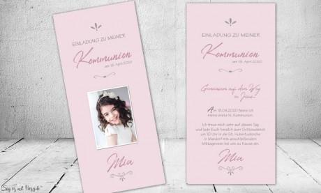Einladungskarten Konfirmation Kommunion rosa Mädchen