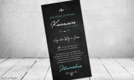 Einladungskarten Kommunion Konfirmation ohne Foto modern Tafel