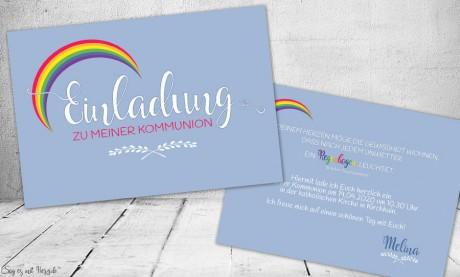 Einladungskarten Kommunion Konfirmation Regenbogen