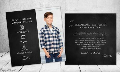 Einladungskarten Kommunion Konfirmation mit Foto Tafellook