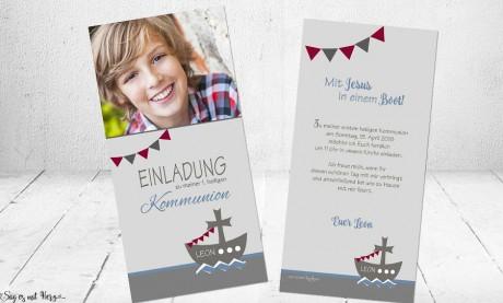 Einladungskarten Konfirmation Kommunion mit Foto Boot Schiff