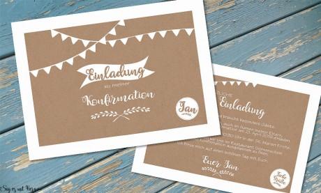 Einladungskarten Kommunion Konfirmation Kraftpapier Vintage ohne Foto