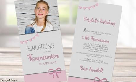Einladungskarten Kommunion Konfirmation mit Foto rosa Mädchen
