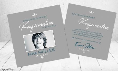 Einladungskarten Kommunion Konfirmation Junge modern