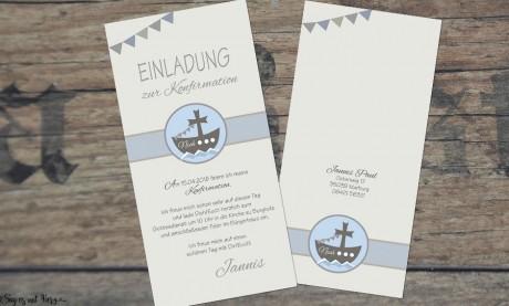 Einladungskarten Kommunion Konfirmation ohne Foto Boot Schiff