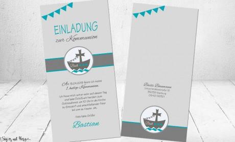 Einladungskarten Kommunion Konfirmation Fisch Boot Schiff