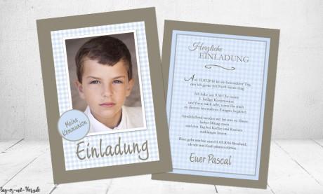 Einladungskarten Konfirmation Kommunion mit Foto Junge