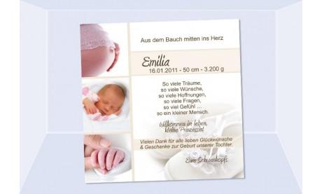 "Danksagung Geburt ""Emilia"", Geburtskarte, 10x10 cm, creme"