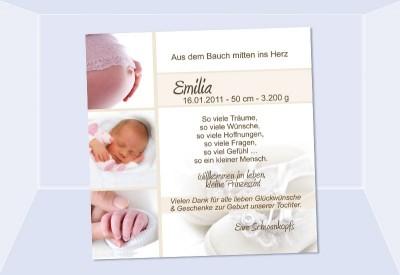danksagung geburt geburtskarte babykarte fotokarte creme. Black Bedroom Furniture Sets. Home Design Ideas