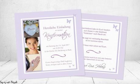 Einladungskarten Konfirmation Kommunion mit Foto flieder Schmetterling