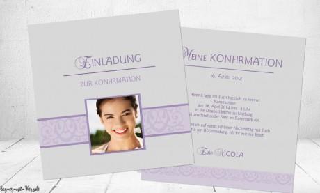 Einladungskarten Konfirmation Kommunion mit Foto flieder grau